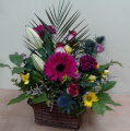 Luxury wicker basket floral arrangement